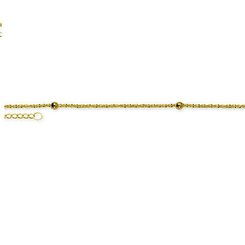 "14K Solid Gold Bead Station Axis Anklet -Yellow 9""-10"" adjust -Minimalist"