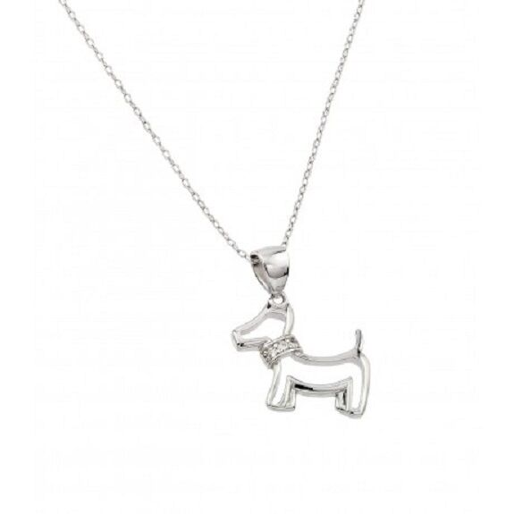 "925 Sterling Silver Rhodium Plated Clear CZ Dog Necklace 16""-18"" adjustable"