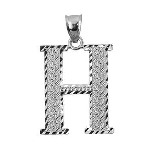 925 Sterling Silver Initial Letter H Pendant Necklace - Large, Medium, Small DC