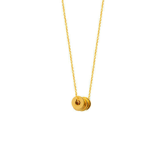 "14K Solid Gold 4 open Mini disk/dics Dainty Necklace -Minimalist Adjust 16""-18"""