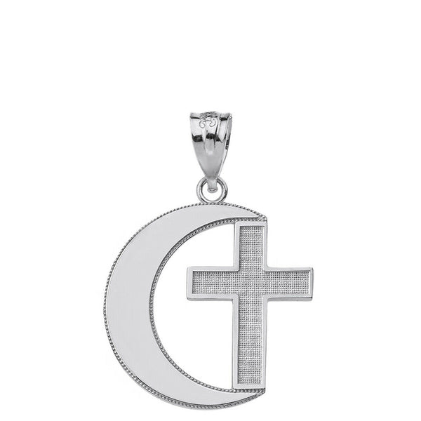 Polished .925 Sterling Silver Religious Crescent Moon and Cross Pendant Necklace