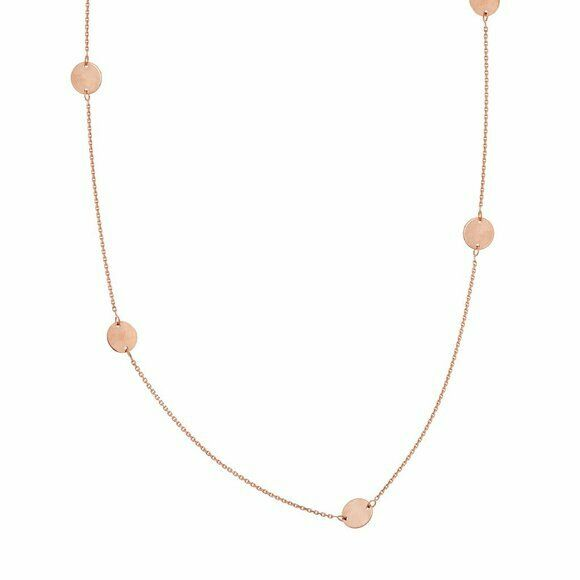"14K Solid Rose Gold 6 Piece Disk/Dics Station Necklace - 16""-18"" adjustable"