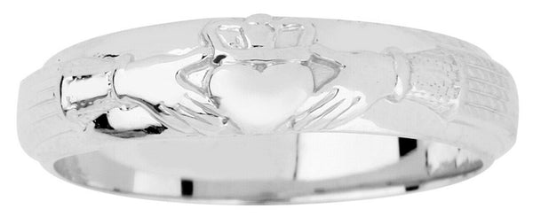 925 Sterling Silver Mens Claddagh Wedding Band Any / All Size