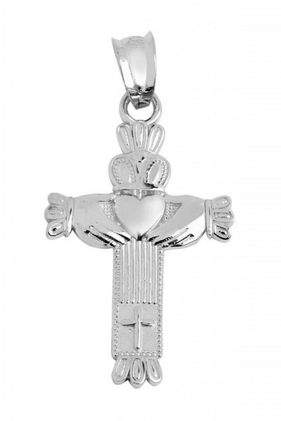 "925 Sterling Silver Claddagh Cross Pendant Necklace Made in US 16"" 18"" 20"" 22"""