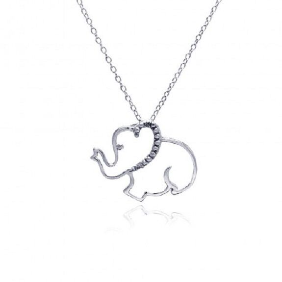 Elephant Necklace - 925 Sterling Silver - CZ Elephants Trunk Up Pendant Jewelry