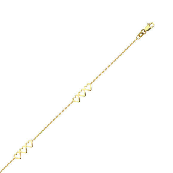 "14K Solid Gold Open Trio Heart Cable Chain -Yellow 9""-10"" adjust -Minimalist"