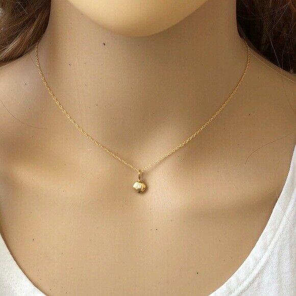 "14K Solid Gold Mini CZ Charm Pendant Dainty Necklace 16""-18"" adjust Minimalist"