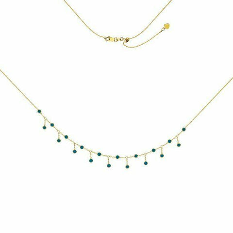 14K Solid Yellow Gold Turquoise Enamel Element Dangle Choker Necklace Adjust