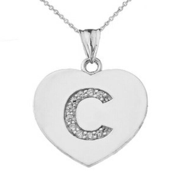 "925 Sterling Silver CZ Initial Letter C Heart Pendant Necklace 16"" 18"" 20"" 22"""