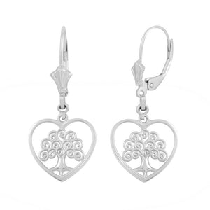 925 Sterling Silver Tree of Life Open Heart Filigree Earring Set - Made in USA