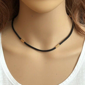 "14K Solid Gold Black Cord String Chain Necklace 16"", 18"" !4K Gold Clasp W. 3mm"
