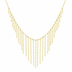 14K Solid Yellow Gold Graduate Hammered Forzentina Necklace 18""