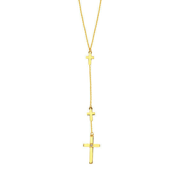 "14K Solid Gold Natural Diamond Triple Cross Adjustable Necklace 16""-18"" Drop"