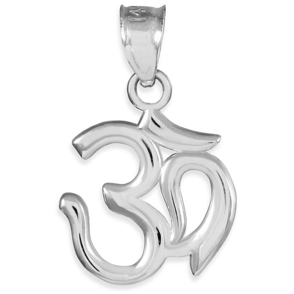 "925 Sterling Silver OM (OHM) Pendant Necklace Made in US 16"" 18"" 20"" 22"" length"