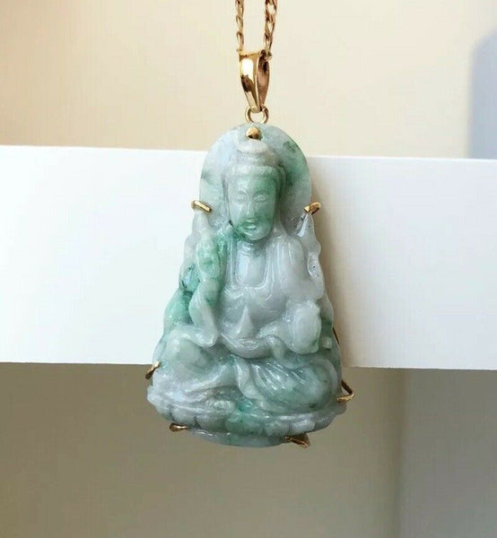 18K Yellow Gold Lady Buddha Quan/Kwan Yin Jade Pendant Light Green White - ES1