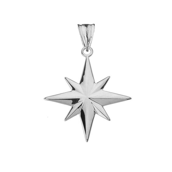 "925 Fine Sterling Silver North Star Pendant Necklace 16"" 18"" 20"" 22"" Made in USA"