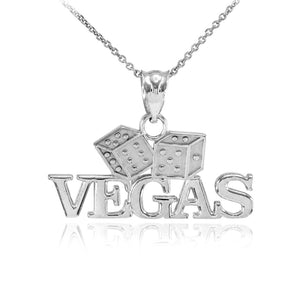 Fine 925 Sterling Silver VEGAS Dice Pendant Necklace Lucky Charm Made in USA