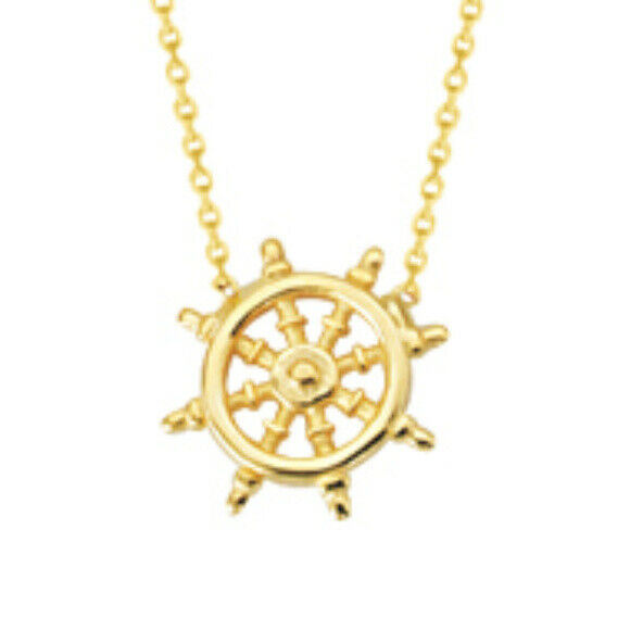 "14K Solid Yellow Gold Mini Ship Wheel Necklace Adjustable 16""-18"""