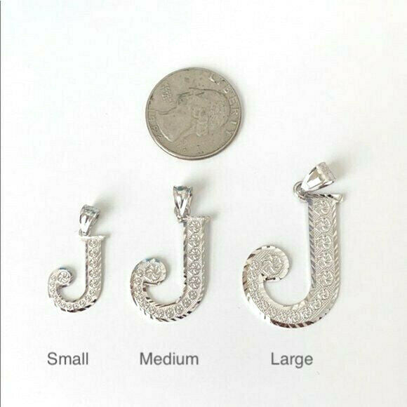 925 Sterling Silver Initial Letter P Pendant Necklace - Large, Medium, Small D/C