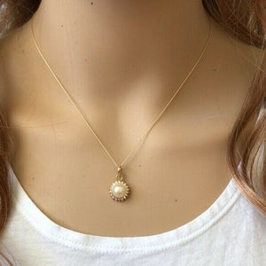 "14K Solid Gold Mini Pearl CZ Pendant Dainty Necklace - Minimalist 16""-18"""