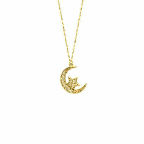 "14K Solid Yellow Gold Half Moon and Star Diamond Necklace 16""-18"" Adjustable"
