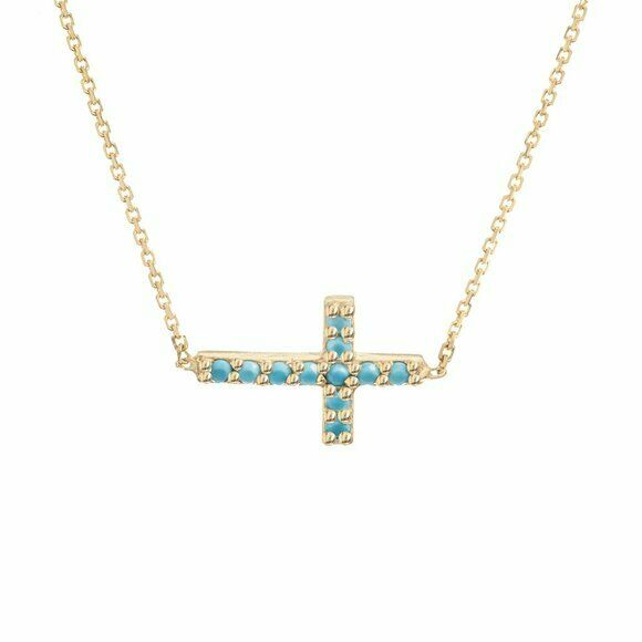 "14K Solid Gold Mini Sideways Cross Nano Turquoise Adjustable Necklace 16""-18"""