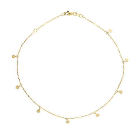 "14K Solid Gold 8 Pieces Dangle Mini Disk/ Disc Anklet - Yellow 9""-10"" adjustable"