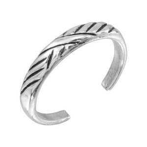 925 Sterling Silver Multi Slash Adjustable Toe Ring /Finger Thumb Ring Oxidized