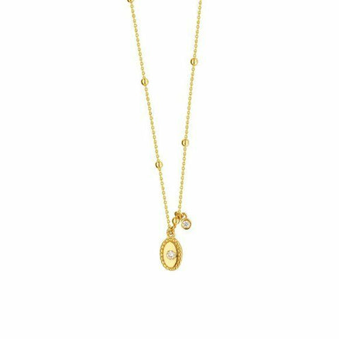 "14K Solid Yellow Gold Diamond Oval Disk Necklace 16""-18"" Adjustable"