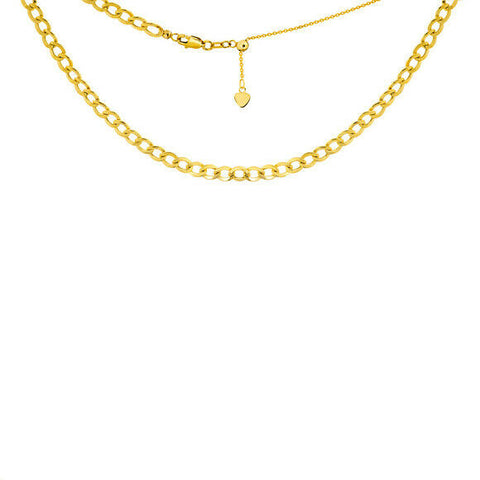 "14K Solid Yellow Gold Flat Cuban Chain 3.3 mml Choker Necklace 16"" Adjustable"