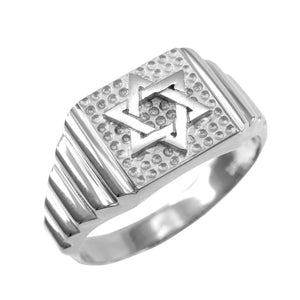 925 Sterling Silver Star of David Jewish Men Ring Made in USA - Any / All Size