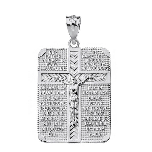 Sterling Silver The Lord's Our Father Crucifix Rectangle Cross Pendant Necklace