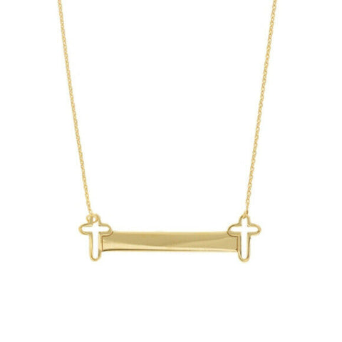 "14K Solid Yellow Gold Open Cross Side Mini Bar Adjustable Necklace 16""-18"""
