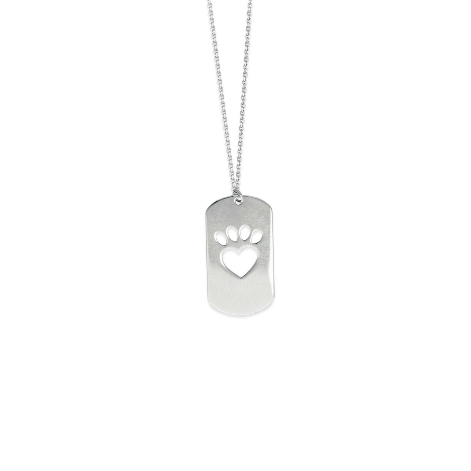 925 Sterling Silver Cut Out Heart Paw Adjustable Small Dog Tag Necklace
