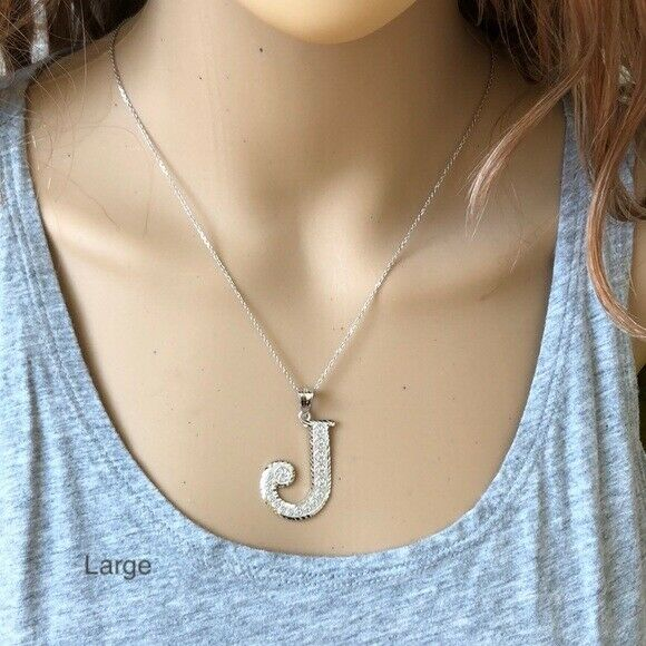 925 Sterling Silver Initial Letter S Pendant Necklace - Large, Medium, Small D/C
