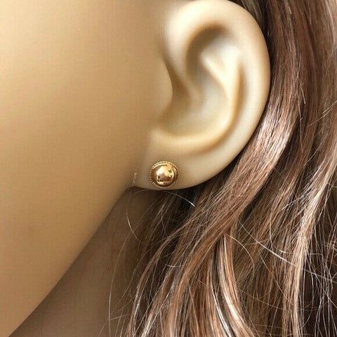 14K Solid Yellow Gold Mini Half Ball Stud Earrings