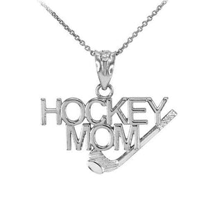 "925 Pure Sterling Silver Hockey Mom Pendant Necklace Made in USA 16"",18"",20"",22"""