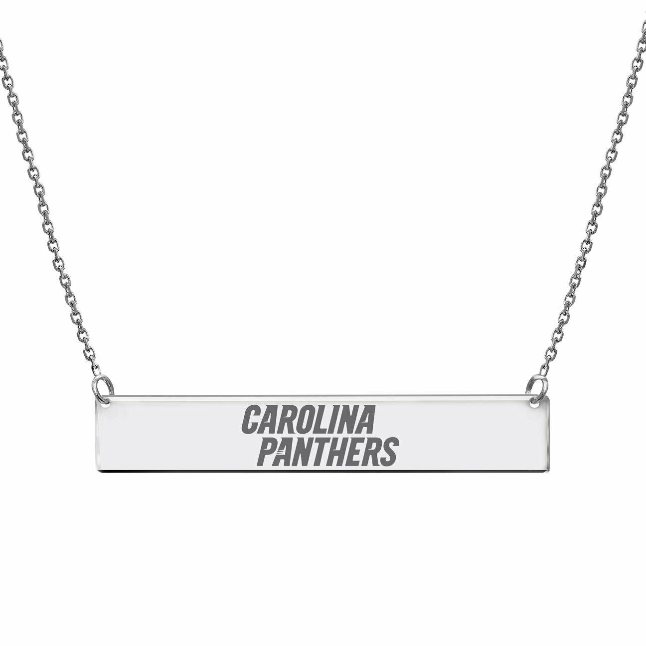 Licensed NFL Carolina Panthers Engraved Geometric Bar Necklace Sterling Silver