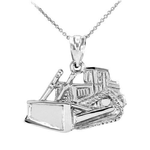 Fine 925 Sterling Silver Bulldozer Construction Pendant Necklace Made in USA