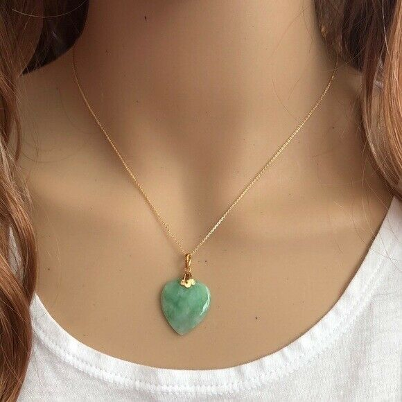"14K Solid Yellow Gold Heart Jade Pendant Necklace many length Chain16"" 18"" 20"""