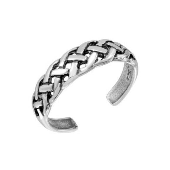 NWT Sterling Silver 925 Braided Adjustable Toe Ring / Finger Thumb Ring