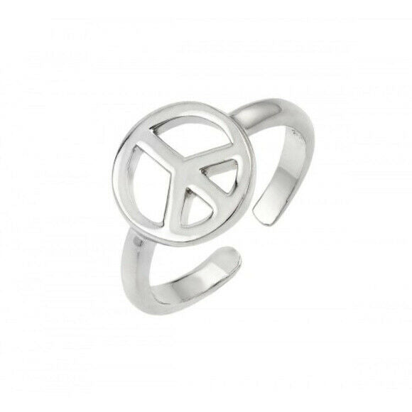 925 Sterling Silver Peace Sign/ Symbol Rhodium Adjustable Toe Ring / Finger Ring