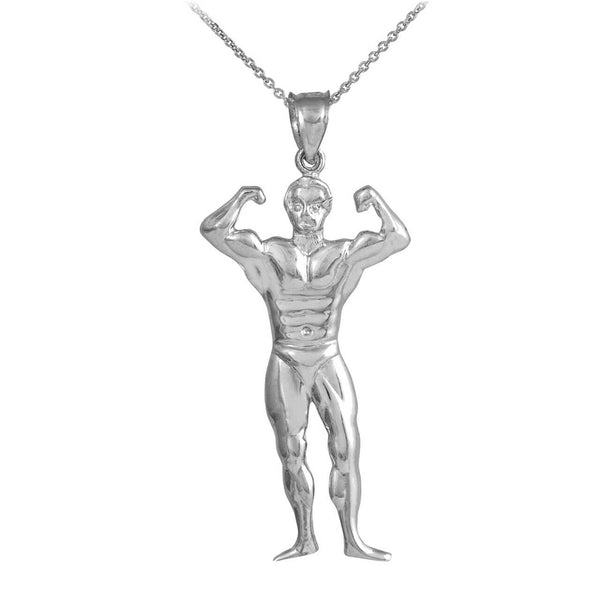 Silver Bodybuilding Mr. Olympia Flexing Sports Pendant Necklace Made in USA
