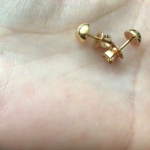 14K Solid Yellow Gold Mini Half Ball Screw Back Earrings