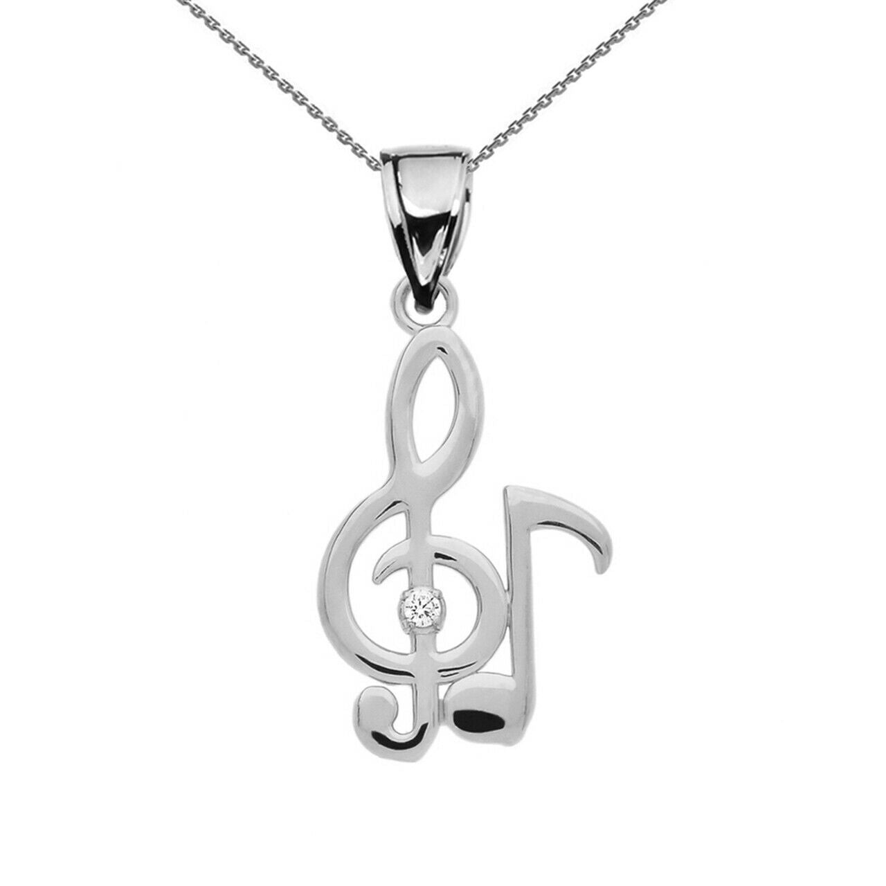 925 Sterling Silver Diamond Treble clef & Eight Note Music Pendant  Made in USA