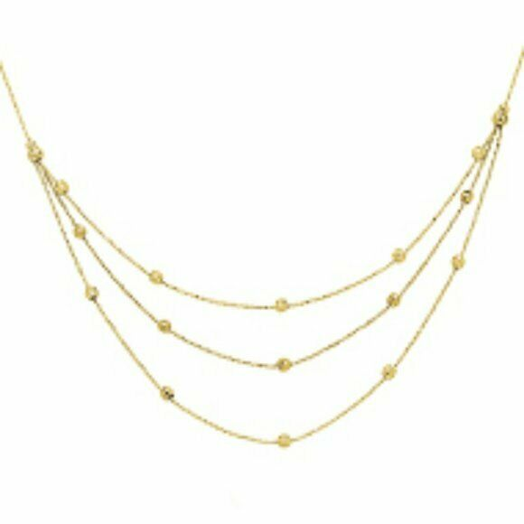 "14K Solid Gold 3 Layer Bead DiamondCut BIB Chain Necklace 17"" Adjustable Yellow"