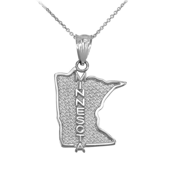 Sterling Silver Minnesota State Map United States Pendant Necklace Made in USA
