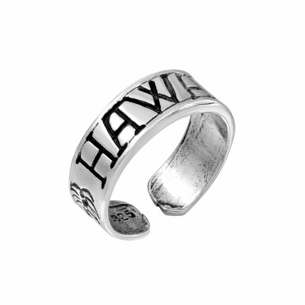 925 Sterling Silver Engraved Hawaii Adjustable Oxidized Toe Ring / Finger Ring