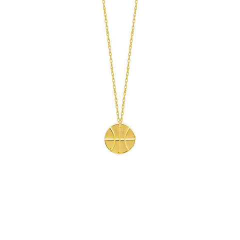 "14K Solid Yellow Gold Mini Basketball Dainty Necklace - Minimalist 16""-18"""