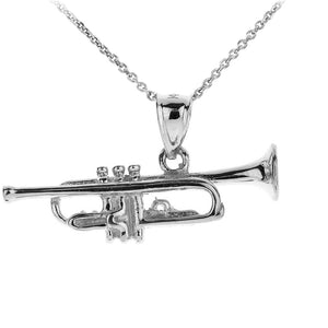 Fine 925 Sterling Silver Three Dimensional Trumpet Pendant Necklace Made in USA